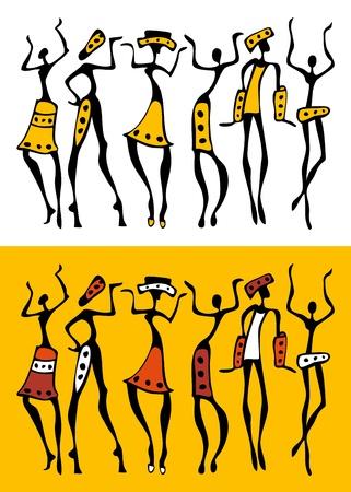 ilustraciones africanas: La silueta de África establecido.