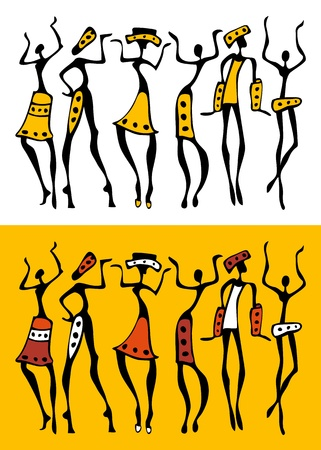 arte africano: La silueta de �frica establecido.