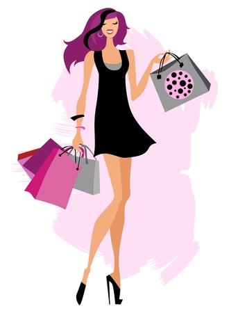 очаровательный: Мешки Женщина покупки Иллюстрация
