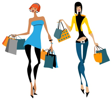 Two women with shopping bags Vector