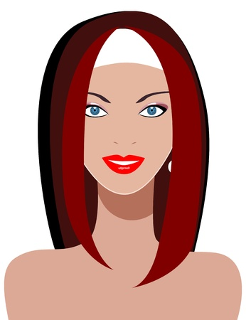 Young woman with beautiful blue eyes.  Vector