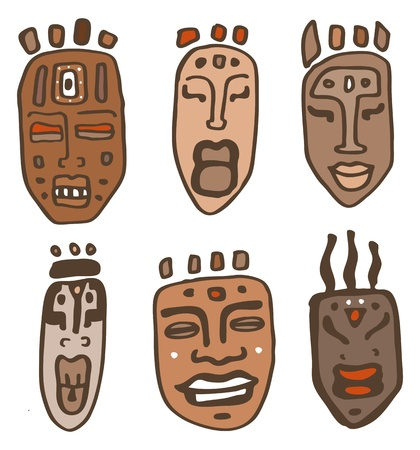 sculpture: African Masks set  Vector  Illustration Illustration