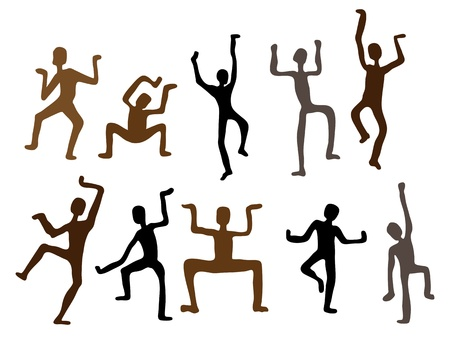 tribes: Abstract ethnic dance men  Vector Illustration
