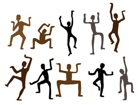 danza africana: Astratto vettore danza etnica uomini illustrazione Archivio Fotografico