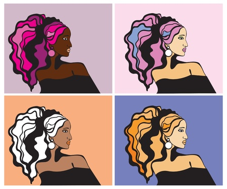 Colorful women portraits  Vector