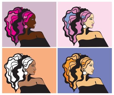 perfil de mujer rostro: Retratos de mujeres de colores
