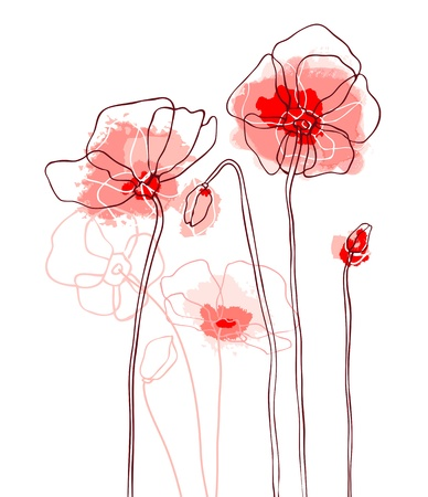 at ease: Red poppies on a white background Illustration