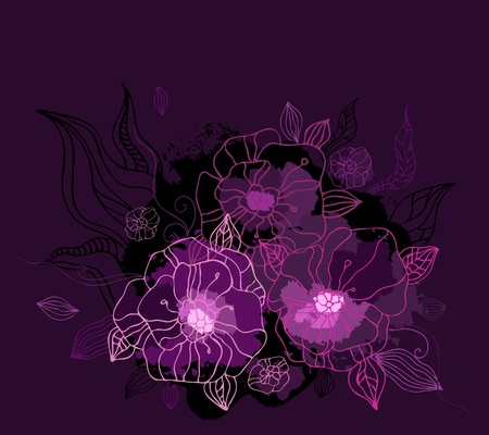 purple grunge: Beautiful purple peony  Hand drawn vector illustration
