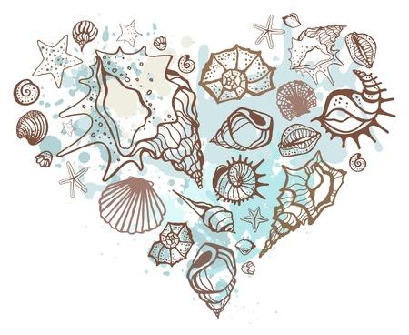 conchas: Coraz�n de la Mano de conchas elaborado ilustraci�n vectorial