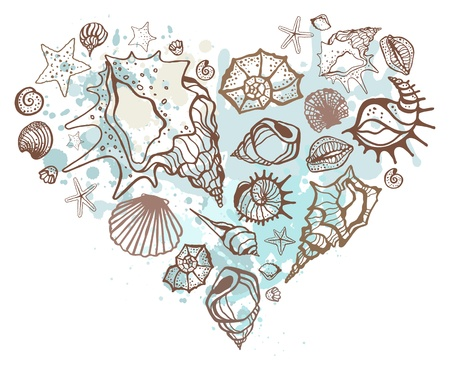 cockleshells: Heart of the shells  Hand drawn vector illustration Illustration