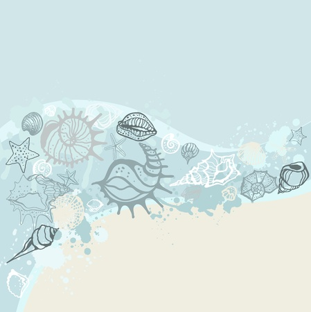 oyster: Sea background  Hand drawn vector illustration Illustration