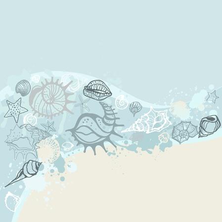 cozza: Sea sfondo disegnato a mano illustrazione vettoriale Vettoriali