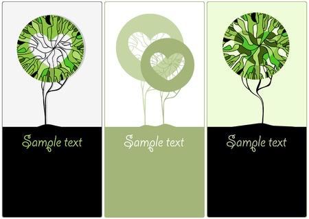 raíz de planta: Estilizados árboles verdes con fines ilustrativos de diseño vectorial Vectores