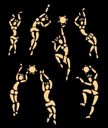 ethnic festival: Figures of african dancers set  Vector Illustration
