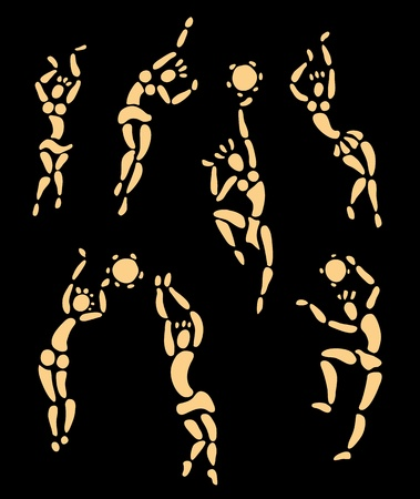 african art: Figures of african dancers set  Vector Illustration