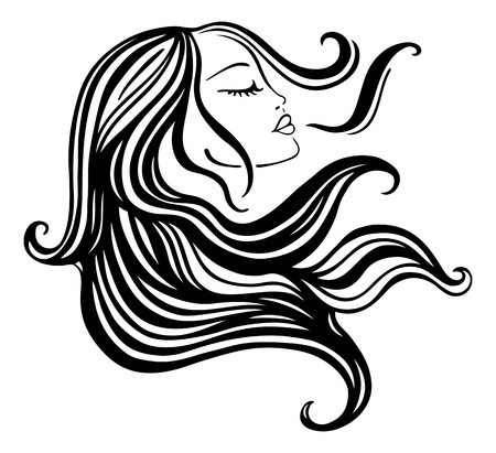 Beautiful Woman with long hair  Vector  Illustration  Vector