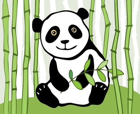 Panda with sprig of bamboo in background  Vector