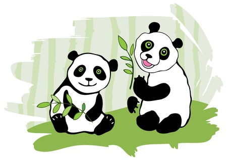 Two pandas  Bamboo in background   Stock Vector - 13233150