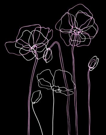 rosa negra: Amapolas rosadas en negro ilustraci�n vectorial de fondo