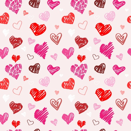 heart sketch: Abstract background, love heart seamless vector pattern