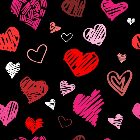 grunge heart: Abstract background, love heart seamless pattern   Illustration