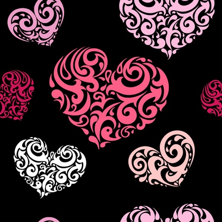 Abstract background, love heart seamless pattern   Vector