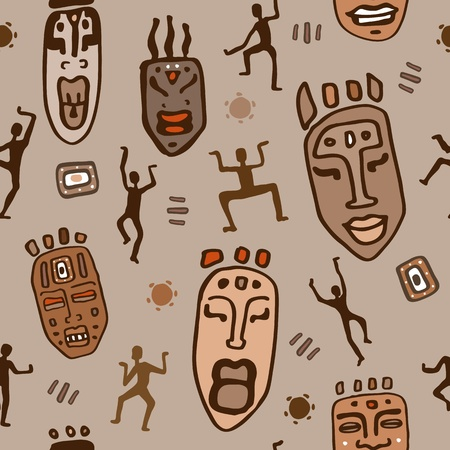 tribal dance: Africa  Seamless Abstract tiling pattern background   Illustration