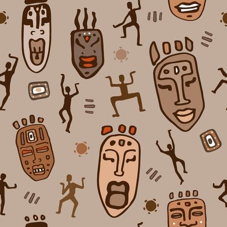 tribu: África, sin fisuras de fondo de mosaico abstracto Vectores