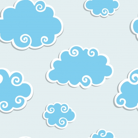 clouds clipart: Abstract Blue Clouds seamless background  Vector  pattern