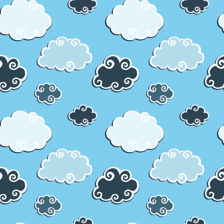 Abstract Blue Clouds seamless background pattern  Vector