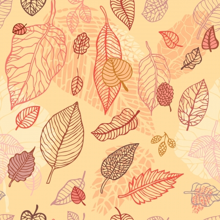 autumnal: Autumn falling leaves background   Seamless  vector pattern Illustration