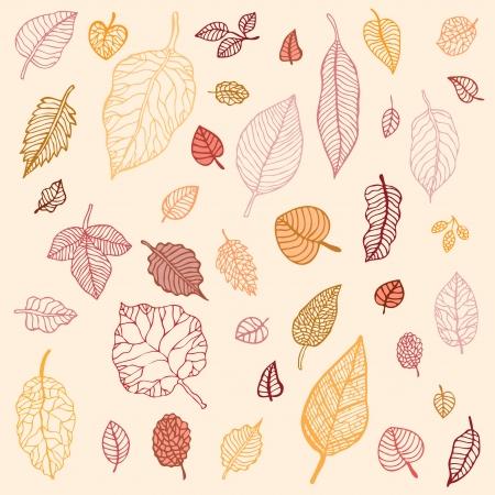 Autumn falling leaves set  Background  Vector Illustration Stock Vector - 13721157
