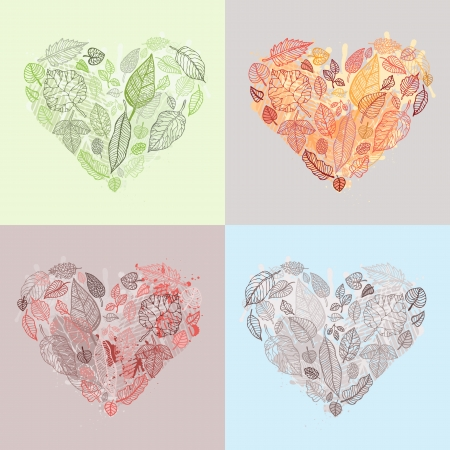 Heart Design elements Set Leaves Background  Vector