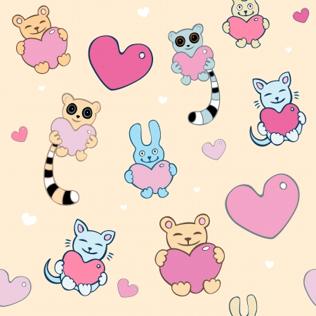 lover boy: Lovely cartoon seamless background  Lemurs, cats, bunnies