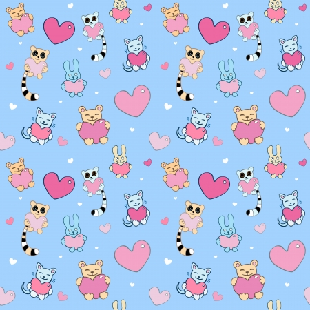 Lovely cartoon seamless background  Lemurs, cats, bunnies  Vector