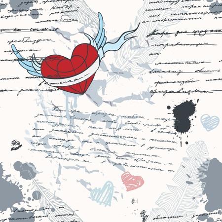 corazon con alas: Patr�n de escritura a mano sin fisuras amor fondo del grunge Vectores