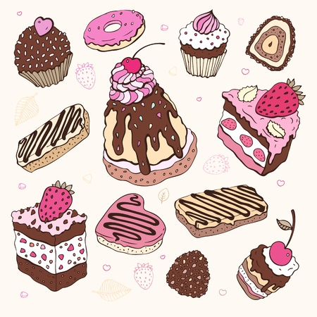 donut: Set of cute cake  Multicolored illustration