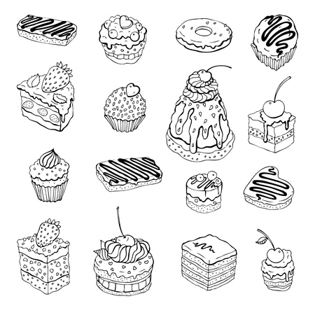 cherry pie: Set of cute cake  Outline illustration