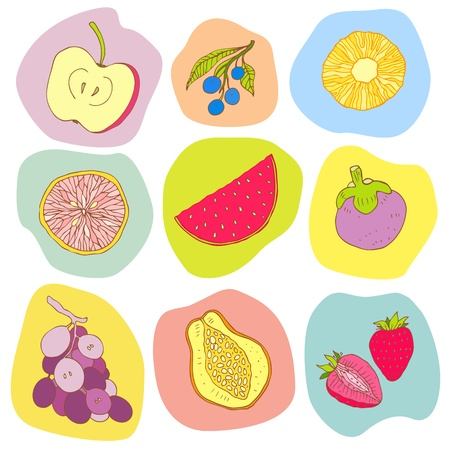 Multi colored Seamless fruits background  Vector illustration Vector