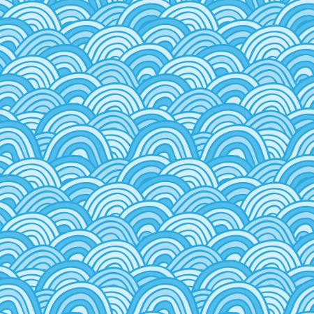 oceanic: Grange Sea background  Seamless Hand-drawn vector illustration Illustration