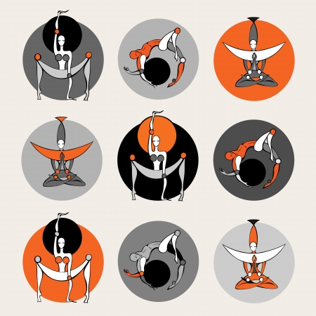 Set of stylish yoga people Vector