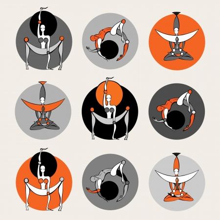 guru: Set of stylish yoga people