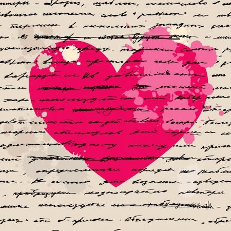 Elementos del diseño del corazón Amor fondo de escritura a mano Ilustración de vector
