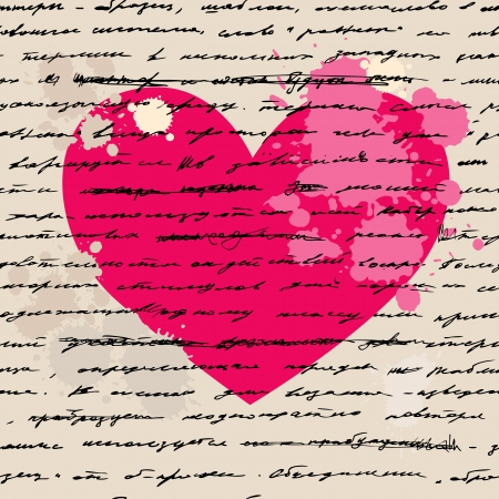 creative writing: Heart design elements  Love  Handwriting  background  Illustration