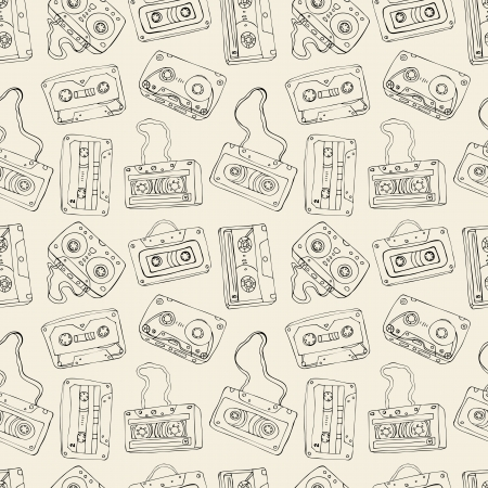 Seamless pattern of cassette tapes   Vector