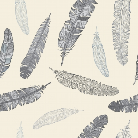 oiseau dessin: Vintage à la main fond Feather étiré sans soudure illustration