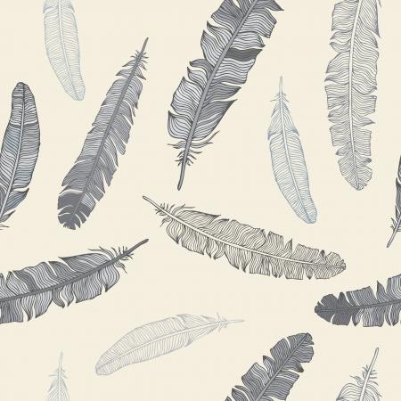 Vintage Feather naadloze achtergrond Hand getrokken illustratie Vector Illustratie