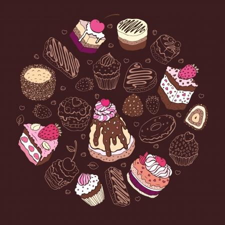 케이크: 귀여운 케이크의 집합은 여러 가지 빛깔의 일러스트