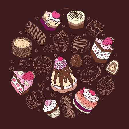 Set of cute cake  Multicolored Vector