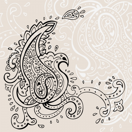mehndi: Paisley background  Hand Drawn ornament   Illustration